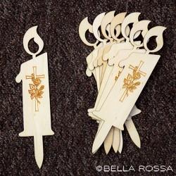 Lesena sveča - križ z vrtnico