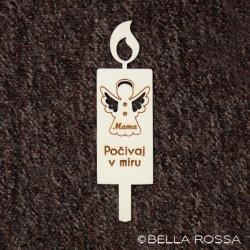 Lesena sveča - Angel s krili