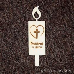 Lesena sveča - Srce z križem