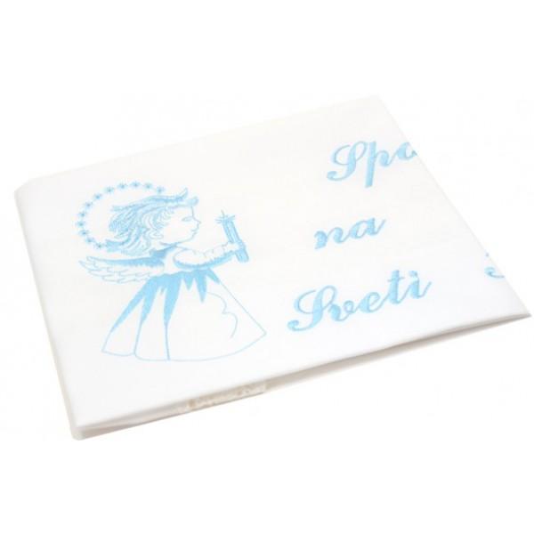 Krstni prtiček - angel - moder