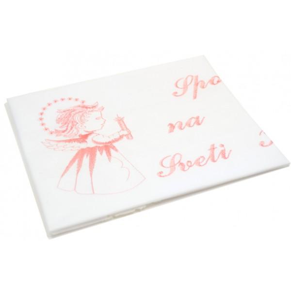Krstni prtiček - angel - roza